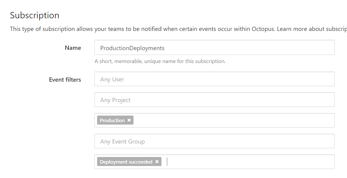 Create a subscription in Octopus Deploy