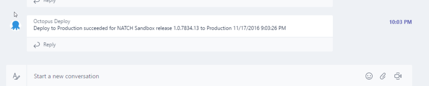 Message in Microsoft Teams after a deployment from Octopus Deploy