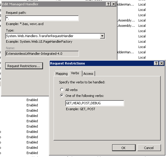 ExtensionlessUrlHandler-Integrated-4.0 in IIS